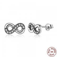 High Quality 925 Sterling Silver Infinity Love, Clear CZ Knot Earrings for Women Fine Jewelry PAS475
