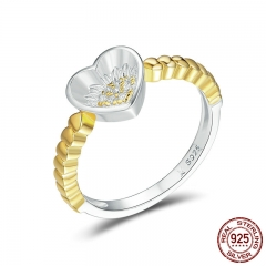 Authentic 925 Sterling Silver Sunflower In Heart Gold Color Finger Ring for Women Wedding Anniversary Jewelry Gift SCR103