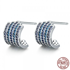 100% 925 Sterling Silver Gradual Change Blue CZ Exquisite Stud Earrings for Women Fashion Earrings Jewelry Gift SCE285