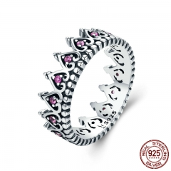 925 Sterling Silver Romantic Stackable Crown Heart Pink CZ Finger Rings for Women Sterling Silver Jewelry Anel SCR257
