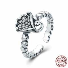 New Collection Real 925 Sterling Silver Lotus Flower Finger Ring Adjustable Women Ring Party Silver Ring Jewelry SCR218