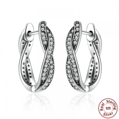 Authentic 925 Sterling Silver Twist Of Fate Stud Earrings Clear CZ for Women Wedding Trendy Jewelry PAS465