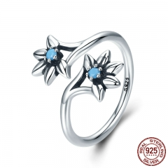 100% 925 Sterling Silver Popular Daisy Flower Blue CZ Female Ring Party Engagement Jewelry Gift Adjustable Size SCR249