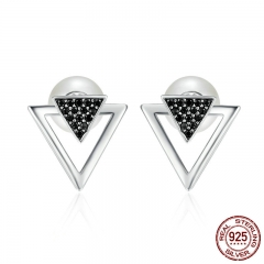 100% 925 Sterling Silver Double Triangle & Imitation Pearl Stud Earrings for Women, Clear CZ Luxury Jewelry Bijoux SCE151