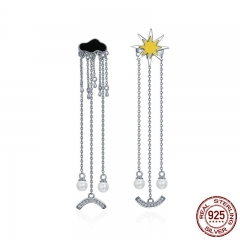 Trendy 925 Sterling Silver I Love Sunny Day Weather Long Tassel Drop Earrings for Women Sterling Silver Jewelry SCE216 EARR-0218