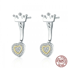 High Quality 100% 925 Sterling Silver Princess Crown with Heart CZ Stud Earrings for Women Wedding Silver Jewelry SCE392