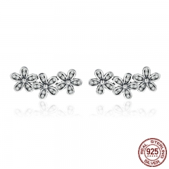 Authentic 925 Sterling Silver Stackable Dazzling Daisies, Clear CZ Stud Earrings for Women Fine Jewelry Bijoux PAS506