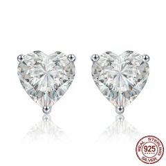 Authentic 100% 925 Sterling Silver Luminous Clear CZ Heart Stud Earrings for Women Wedding Engagement Jewelry Gift SCE359 EARR-0363