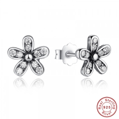 Authentic 925 Sterling Silver Dazzling Daisy Stud Earrings With Clear CZ Jewelry ANNIVERSARY SALE 2018 PAS403
