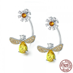 High Quality 925 Sterling Silver Insect Collection Crystal Bee Daisy Flower Drop Earrings for Women Silver Jewelry SCE370 EARR-0383