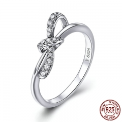 High Quality 925 Sterling Silver Heart Tie Dazzling Bowknot Finger Rings for Women Sterling Silver Jewelry Gift SCR401