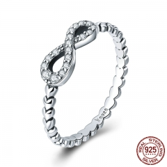 Romantic 925 Sterling Silver Infinity Love Forever Heart Clear CZ Finger Ring for Women Sterling Silver Jewelry SCR414