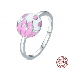 Romantic Collection 925 Sterling Silver Falling Flowers Pink Enamel Finger Ring Women Wedding Engagement Jewelry SCR222