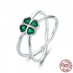 Hot Sale 100% 925 Sterling Silver Lucky Green Clover Flower Finger Ring for Women Party Engagement Jewelry SCR196