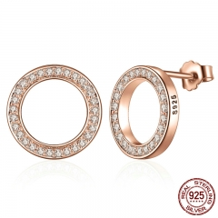 Genuine 925 Sterling Silver Forever Rose & Clear CZ Round Circle Stud Earrings For Women Fashion Jewelry PAS484