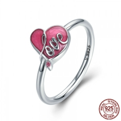 Authentic 925 Sterling Silver Sweet Love Heart Pink Enamel Finger Ring Female Women Anniversary Engagement Jewelry SCR203