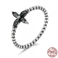 100% 925 Sterling Silver Modern Fashionable Flower Clear Black CZ Finger Rings for Women Sterling Silver Jewelry SCR137