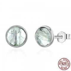 925 Sterling Silver March Droplets Stud Earrings, Aqua Blue Crystal Stud Earrings Women Sterling Silver Jewelry PAS522
