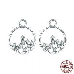 100% 925 Sterling Silver Sparkling CZ Tree of Life Circle Earrings Jackets for Women Sterling Silver Jewelry SCE354-1X