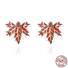 100% 925 Sterling Silver Autumn Maple Tree Leaves Stud Earrings for Women Luxury Silver Jewelry Valentine Day Gift SCE264