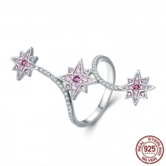 Authentic 925 Sterling Silver Pink CZ Snowflake Party Cocktail Finger Ring for Women Engagement Wedding Jewelry SCR336
