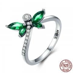New Collection 925 Sterling Silver Petite Dragonfly Finger Rings for Women Green CZ Wedding Engagement Jewelry SCR375