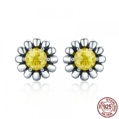 100% Genuine 925 Sterling Silver Yellow Daisy Flower Clear CZ Stud Earrings for Women Fine Silver Jewelry Gift SCE255 EARR-0262