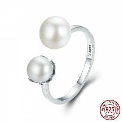 Genuine 100% 925 Sterling Silver Double Ball Finger Ring Adjustable Women Ring Luxury Sterling Silver Jewelry SCR192