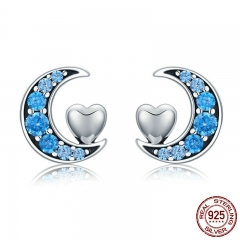 Genuine 100% 925 Sterling Silver Blue CZ Moon & Sweet Heart Stud Earrings for Women Sterling Silver Jewelry S925 SCE330