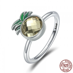 100% 925 Sterling Silver Freshing Pineapple Finger Ring Clear CZ Female Rings for Women Sterling Silver Jewelry SCR224