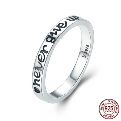 Hot Sale 100% 925 Sterling Silver Never Give Up Letter Alphabet Ring Women Luxury Sterling Silver Jewelry S925 SCR204