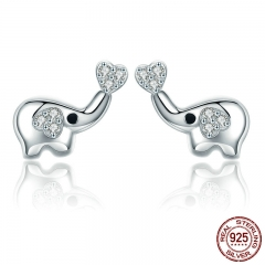 Authentic 100% 925 Sterling Silver Animal Little Elephant Clear CZ Earrings for Women Sterling Silver Jewelry Gift SCE379