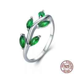 High Quality 925 Sterling Silver Tree of Life Green CZ Crystal Finger Rings for Women Sterling Silver Jewelry Anel SCR327