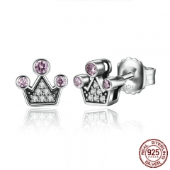 Genuine 100% 925 Sterling Silver Pink Crystals Queen Crown Mountain Stud Earrings Women Fashion Jewelry SCE026-1L