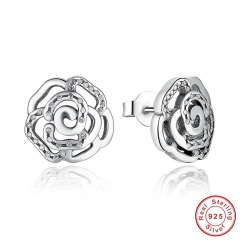 Original 925 Sterling Silver Shimmering Rose Petals Flower Stud Earrings with Clear CZ Fashion Jewelry PAS406