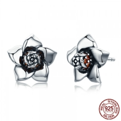 100% 925 Sterling Silver Gardenia Blossoming Flower Exquisite Small Stud Earrings for Women Fashion Silver Jewelry SCE300