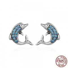 Authentic 925 Sterling Silver Exquisite Animal Dolphins Stud Earrings for Women Fashion Sterling Silver Jewelry SCE223