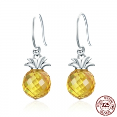 100% 925 Sterling Silver Hanging Pineapple Crystal Hanging Drop Earrings for Women Sterling Silver Jewelry Gift SCE265 EARR-0271