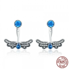 Authentic 100% 925 Sterling Silver Butterfly Shape Blue CZ Drop Earrings for Women Sterling Silver Jewelry Gift SCE341