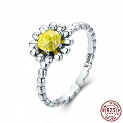 925 Sterling Silver Female Yellow Daisy Flower Clear CZ Finger Ring for Women Anniversary Wedding Jewelry Anel SCR238