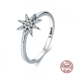High Quality 100% 925 Sterling Silver Sparkling Star Dazzling CZ Finger Rings for Women Engagement Jewelry Anel SCR315