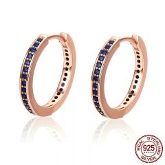 100% Authentic 925 Sterling Silver Blue CZ Simple Gold Color Female Hoop Earrings for Women Fashion Jewelry Gift PAS531