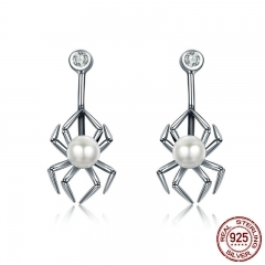 Genuine 925 Sterling Silver Animal Spider Simulated Pearl Drop Earrings for Women Luxury Silver Jewelry Brincos SCE072