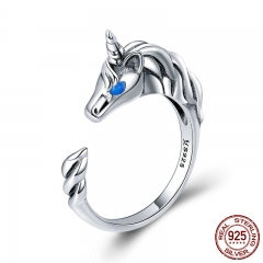 925 Sterling Silver Licorne Memory Long Tail Female Finger Rings for Women Adjustable Size Sterling Silver Jewelry SCR410