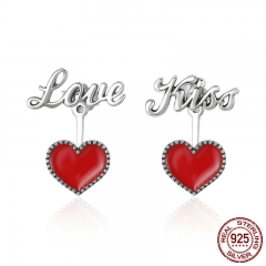 Romantic 925 Sterling Silver Exquisite Red Heart Love & Kiss Letter Stud Earrings Women Fine Jewelry Brincos Gift SCE157 EARR-0175