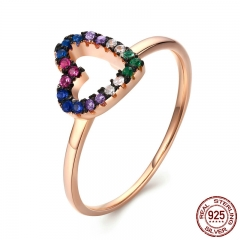Romantic 925 Sterling Silver & Rose Gold Bright Heart Colour Crystal Finger Rings for Women Engagement Jewelry SCR120