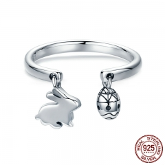 100% 925 Sterling Silver Adjustable Rabbit Easter Bunny & Eggs Female Ring for Women Party Fine Silver Jewelry SCR296
