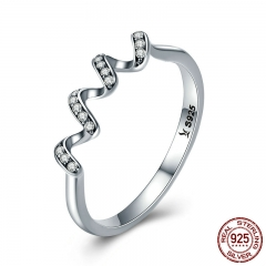 Fashion Authentic 100% 925 Sterling Silver Twisted Geometric Finger Rings for Women Wedding Engagement Jewelry SCR379 RING-0419