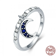Genuine 925 Sterling Silver Day Ring Monday Moon God Dangle Female Ring for Women Sterling Silver Jewelry Gift SCR266