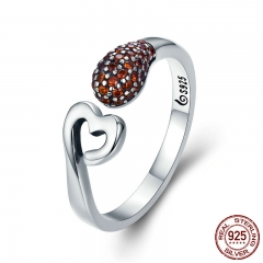 Genuine 100% 925 Sterling Silver Romantic Sweet Heart CZ Crystal Open Finger Ring for Women Engagement Jewelry SCR365